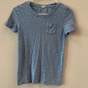 J. Crew blue and white striped T shirt